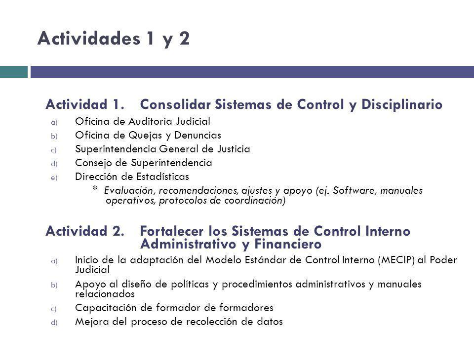 Actividades 1 y 2 Actividad 1. Consolidar Sistemas de Control y Disciplinario. Oficina de Auditoría Judicial.