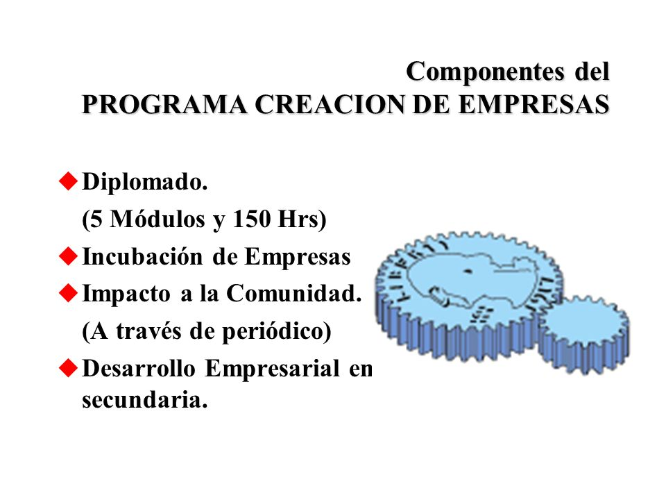 Componentes del PROGRAMA CREACION DE EMPRESAS