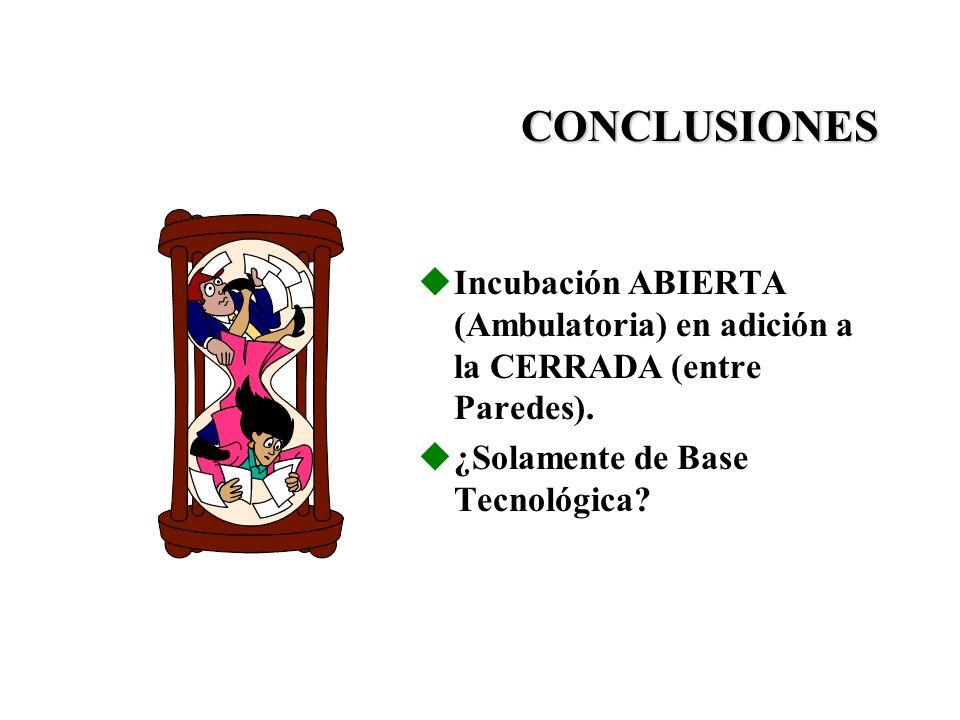 CONCLUSIONES Incubación ABIERTA (Ambulatoria) en adición a la CERRADA (entre Paredes).