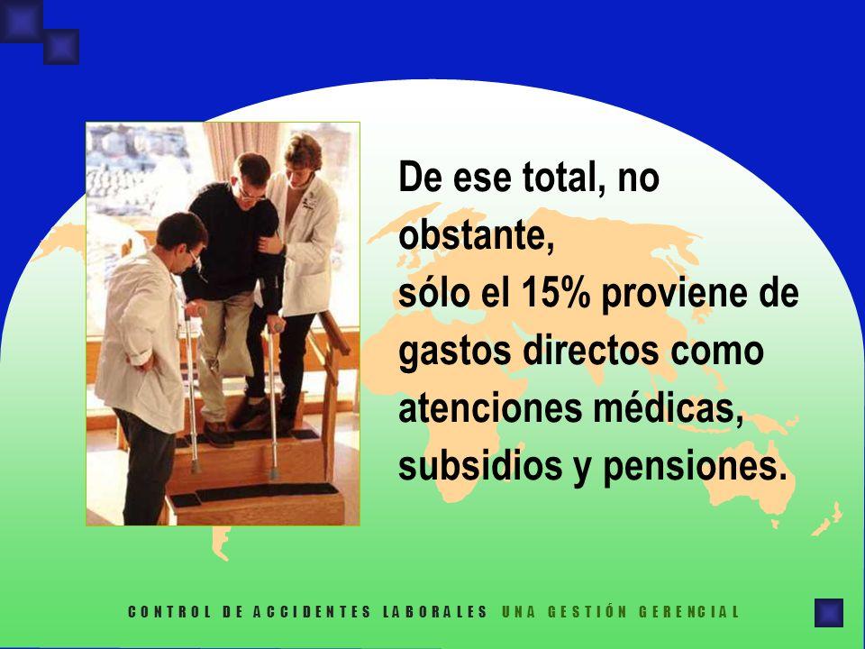 De ese total, no obstante, sólo el 15% proviene de gastos directos como atenciones médicas, subsidios y pensiones.