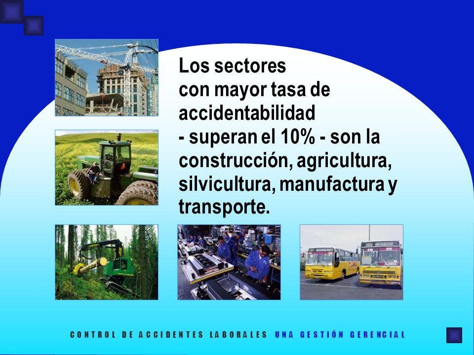 Los sectores con mayor tasa de accidentabilidad - superan el 10% - son la construcción, agricultura, silvicultura, manufactura y transporte.