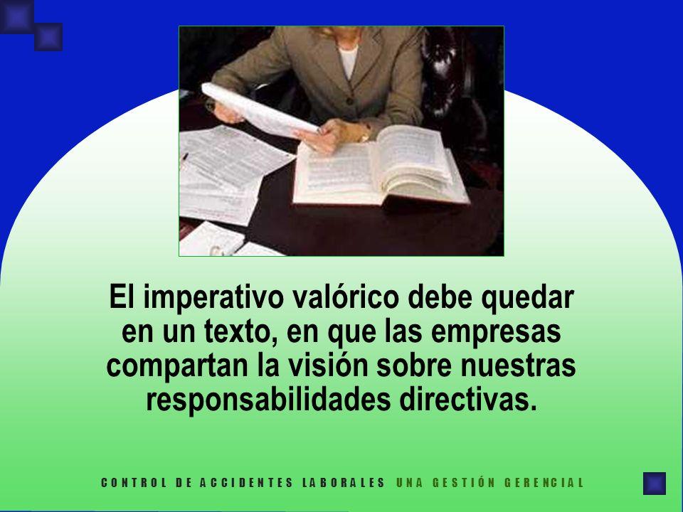 El imperativo valórico debe quedar en un texto, en que las empresas compartan la visión sobre nuestras responsabilidades directivas.