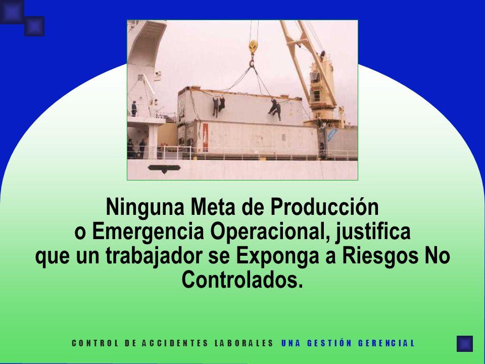 Ninguna Meta de Producción o Emergencia Operacional, justifica que un trabajador se Exponga a Riesgos No Controlados.