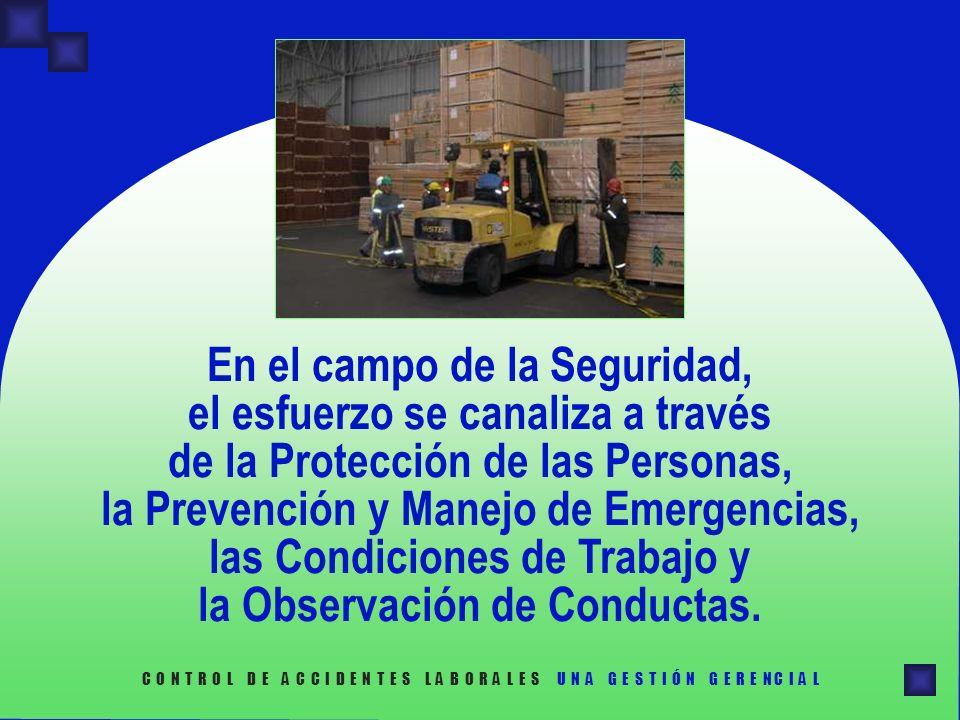 En el campo de la Seguridad, el esfuerzo se canaliza a través de la Protección de las Personas, la Prevención y Manejo de Emergencias, las Condiciones de Trabajo y la Observación de Conductas.