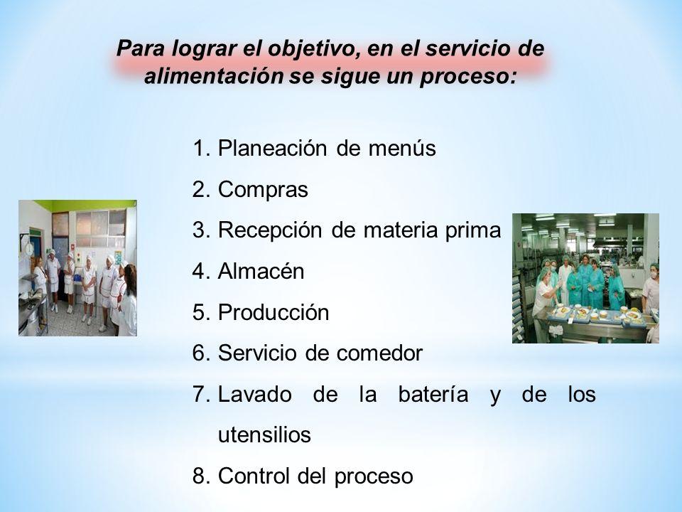 Para lograr el objetivo, en el servicio de alimentación se sigue un proceso: