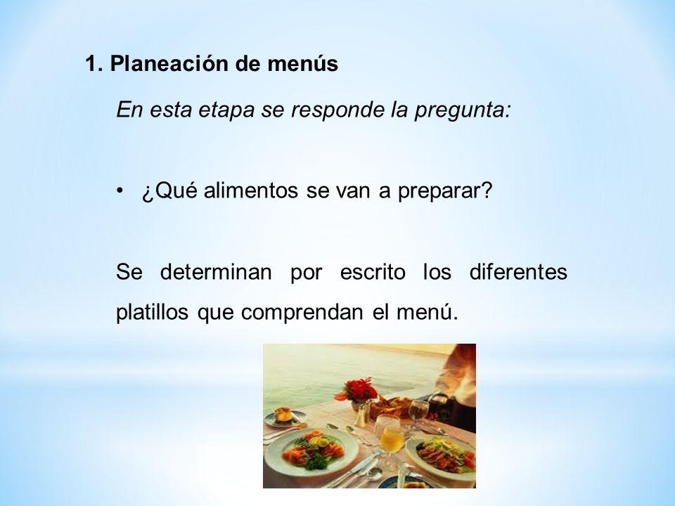 Planeación de menús En esta etapa se responde la pregunta: ¿Qué alimentos se van a preparar