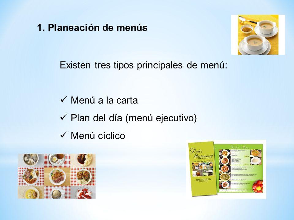 Planeación de menús Existen tres tipos principales de menú: Menú a la carta. Plan del día (menú ejecutivo)