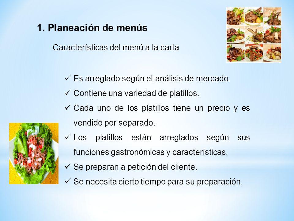 Planeación de menús Características del menú a la carta