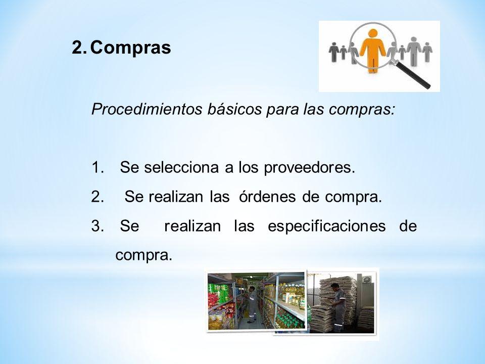 Compras Procedimientos básicos para las compras: