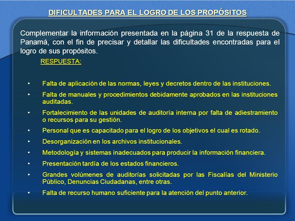 DIFICULTADES PARA EL LOGRO DE LOS PROPÓSITOS