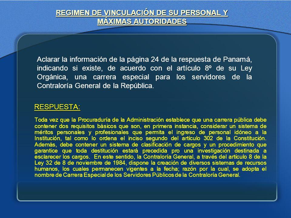 REGIMEN DE VINCULACIÓN DE SU PERSONAL Y MÁXIMAS AUTORIDADES