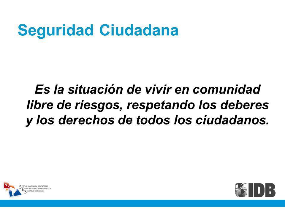 Seguridad Ciudadana Es la situación de vivir en comunidad libre de riesgos, respetando los deberes y los derechos de todos los ciudadanos.