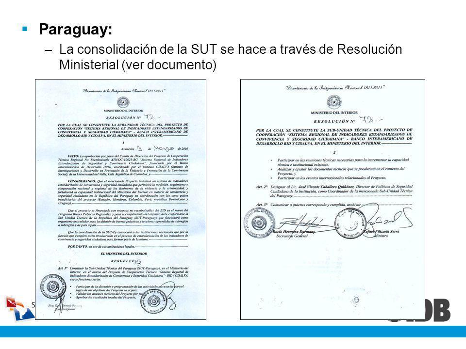 Paraguay: La consolidación de la SUT se hace a través de Resolución Ministerial (ver documento)