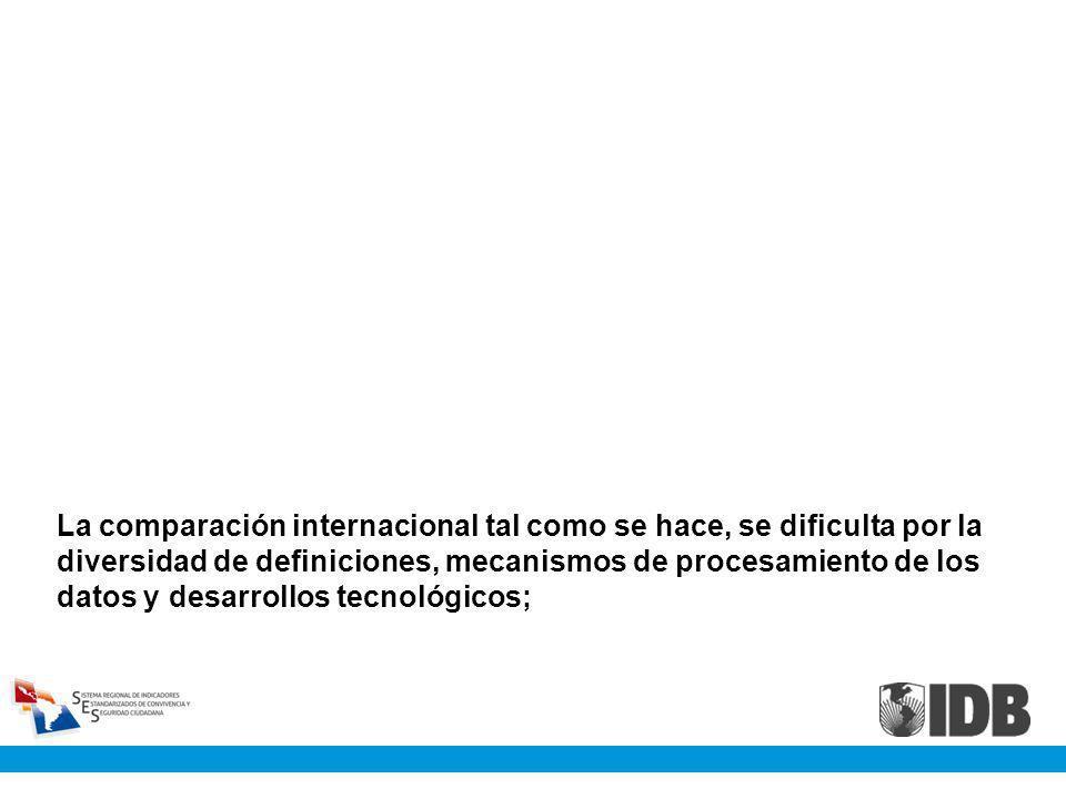 La comparación internacional tal como se hace, se dificulta por la diversidad de definiciones, mecanismos de procesamiento de los datos y desarrollos tecnológicos;