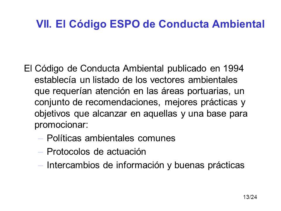 VII. El Código ESPO de Conducta Ambiental