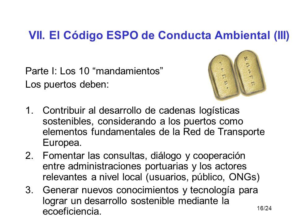 VII. El Código ESPO de Conducta Ambiental (III)