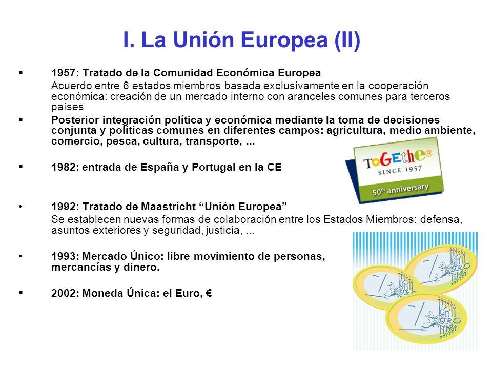 I. La Unión Europea (II) 1957: Tratado de la Comunidad Económica Europea.