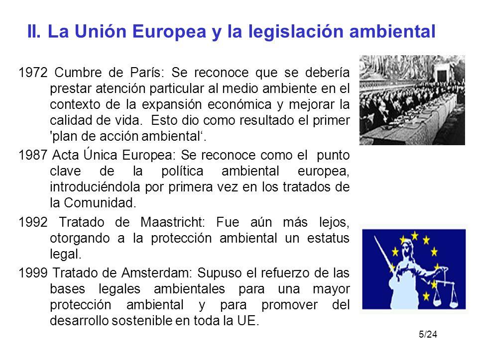 II. La Unión Europea y la legislación ambiental