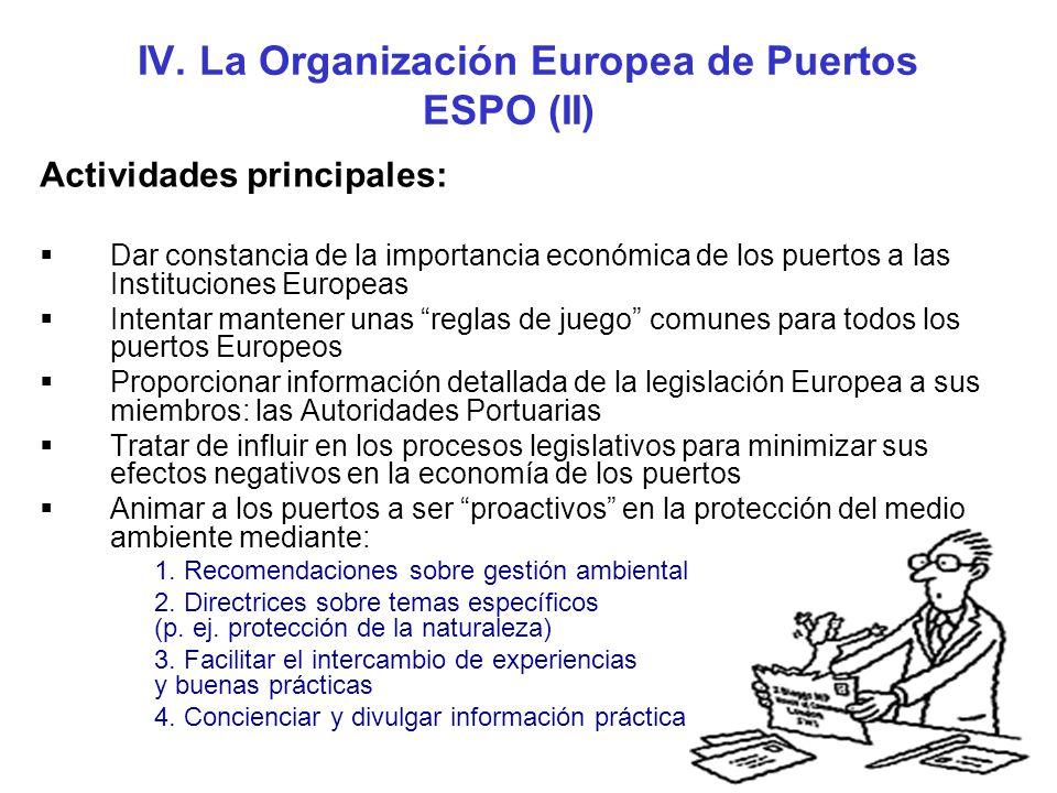 IV. La Organización Europea de Puertos ESPO (II)