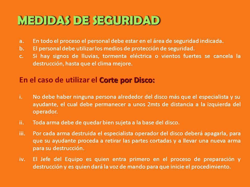 MEDIDAS DE SEGURIDAD En el caso de utilizar el Corte por Disco: