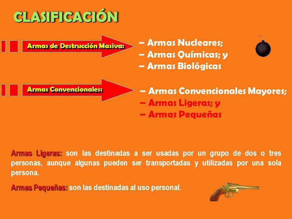 CLASIFICACIÓN – Armas Nucleares; – Armas Químicas; y
