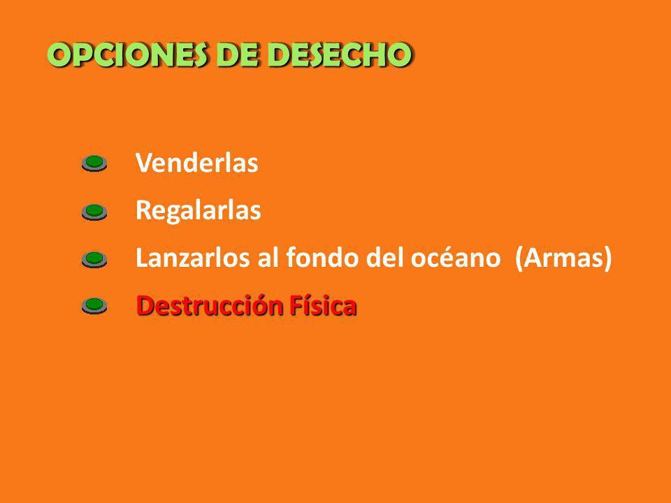OPCIONES DE DESECHO Venderlas Regalarlas