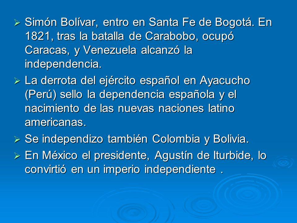 Simón Bolívar, entro en Santa Fe de Bogotá