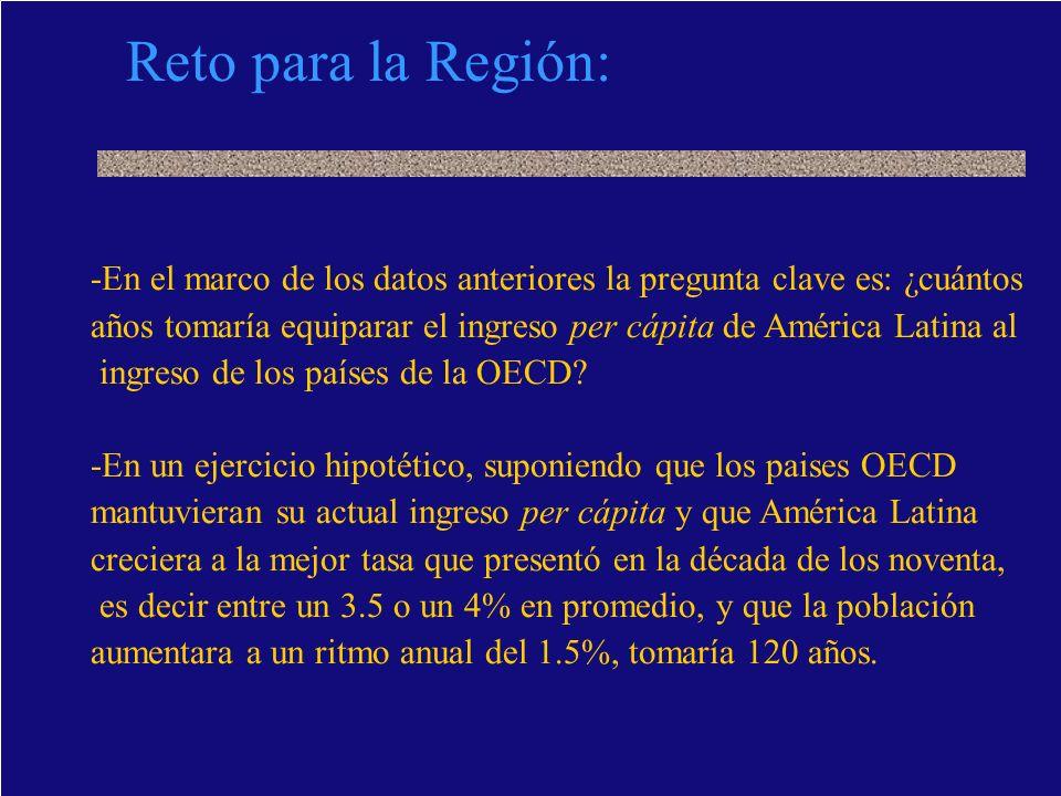 Reto para la Región:-En el marco de los datos anteriores la pregunta clave es: ¿cuántos.