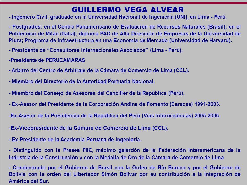 GUILLERMO VEGA ALVEAR- Ingeniero Civil, graduado en la Universidad Nacional de Ingeniería (UNI), en Lima - Perú.