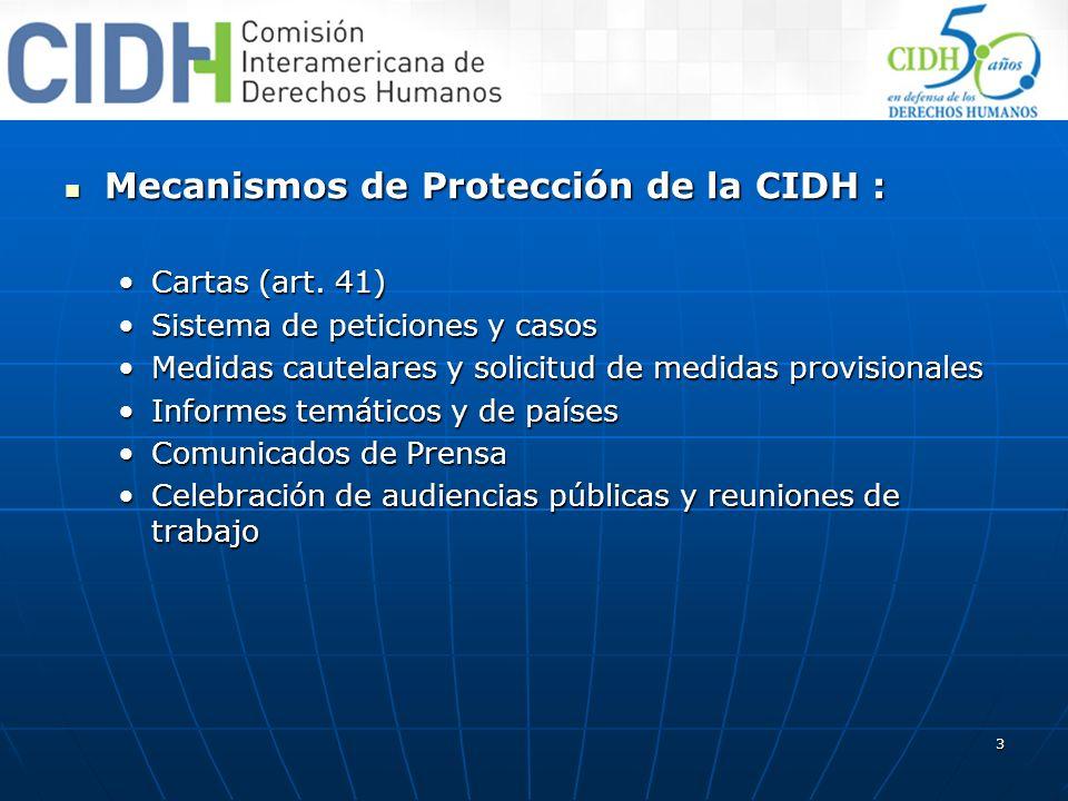 Mecanismos de Protección de la CIDH :