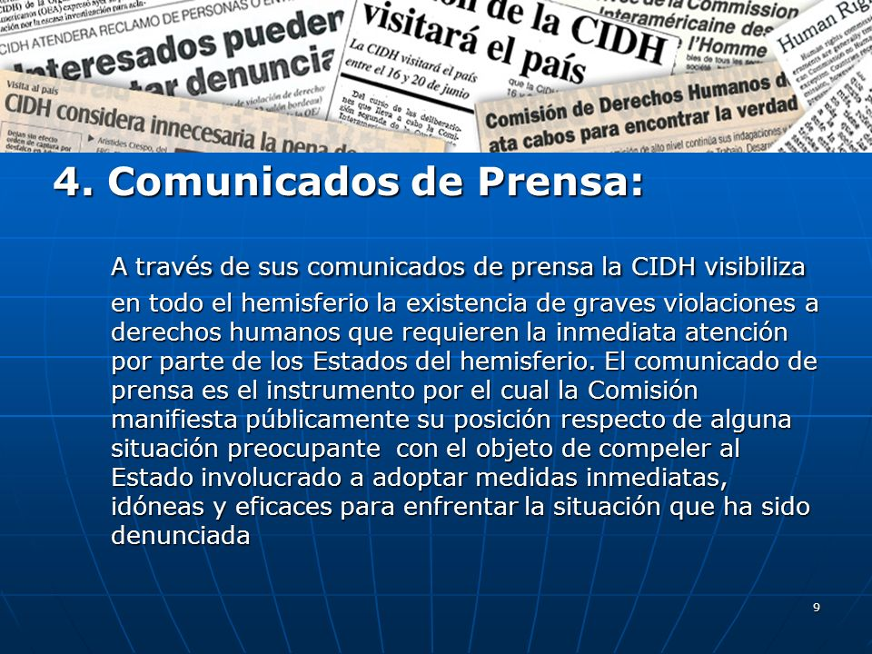 4. Comunicados de Prensa: