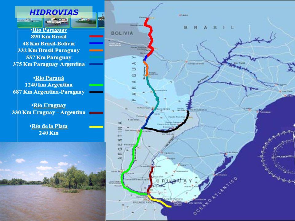 375 Km Paraguay-Argentina 687 Km Argentina-Paraguay