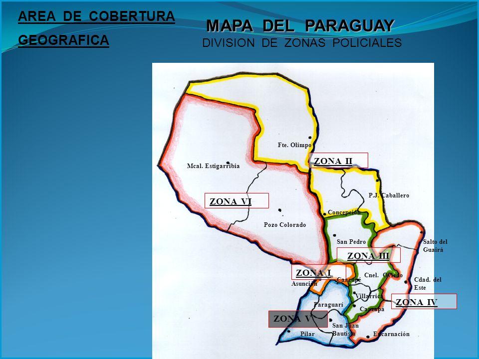 MAPA DEL PARAGUAY DIVISION DE ZONAS POLICIALES