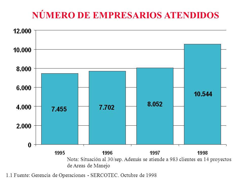NÚMERO DE EMPRESARIOS ATENDIDOS