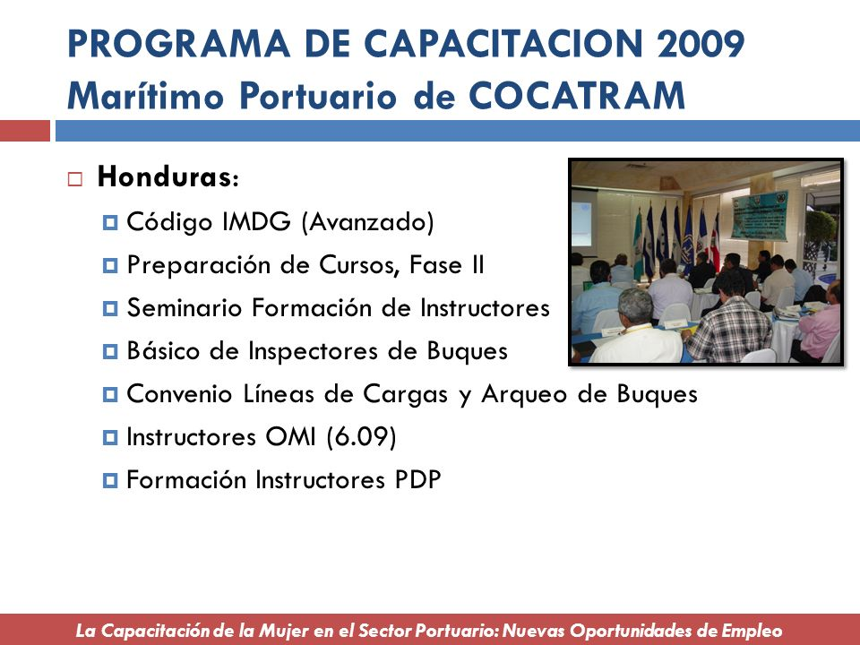 PROGRAMA DE CAPACITACION 2009 Marítimo Portuario de COCATRAM
