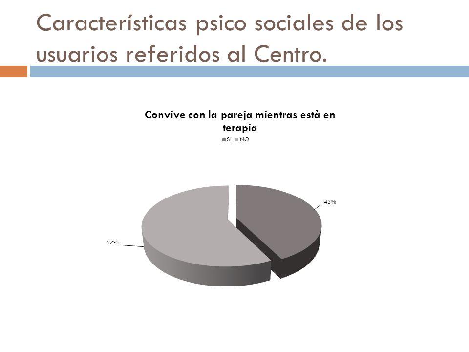 Características psico sociales de los usuarios referidos al Centro.