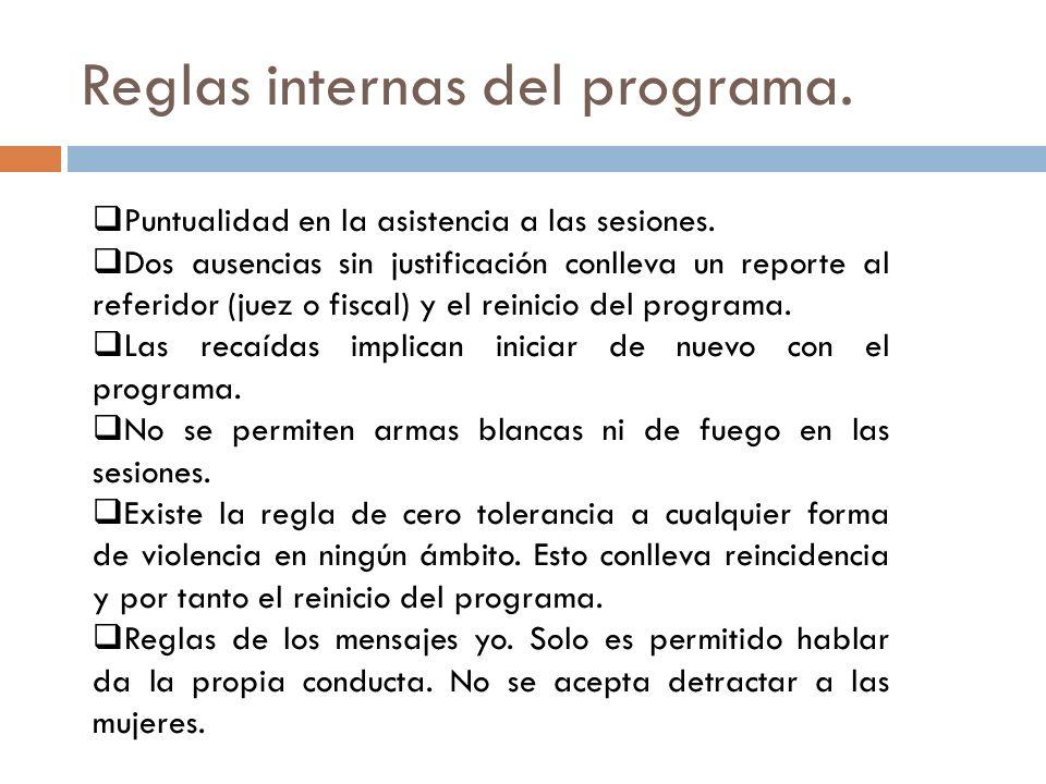 Reglas internas del programa.