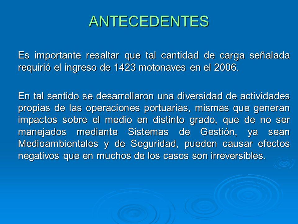ANTECEDENTESEs importante resaltar que tal cantidad de carga señalada requirió el ingreso de 1423 motonaves en el 2006.