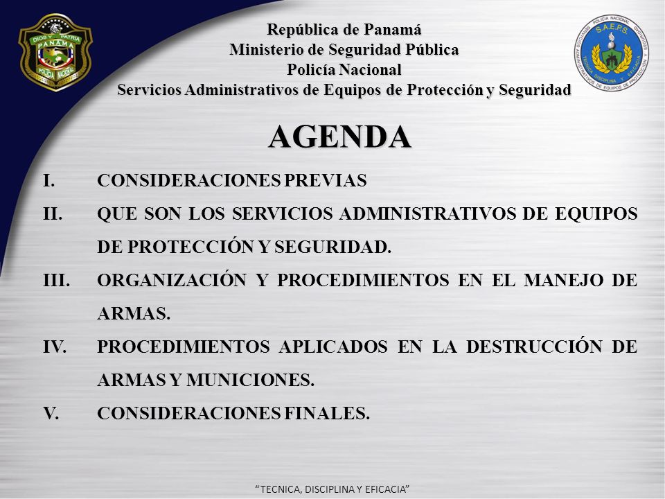 - AGENDA I. Consideraciones previas