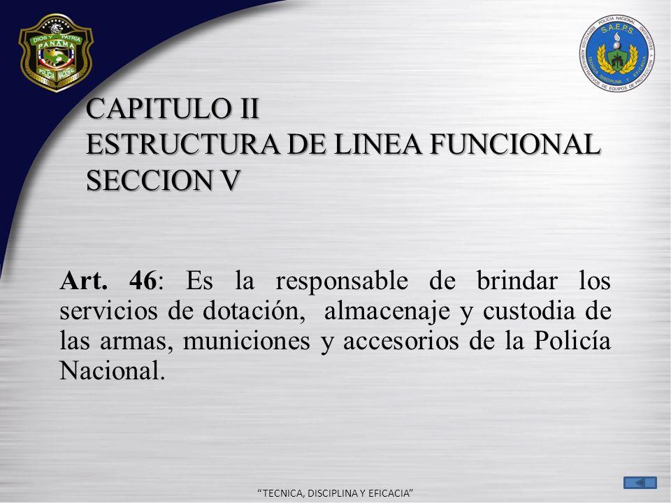 CAPITULO II ESTRUCTURA DE LINEA FUNCIONAL SECCION V
