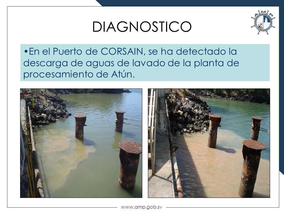 DIAGNOSTICO En el Puerto de CORSAIN, se ha detectado la descarga de aguas de lavado de la planta de procesamiento de Atún.