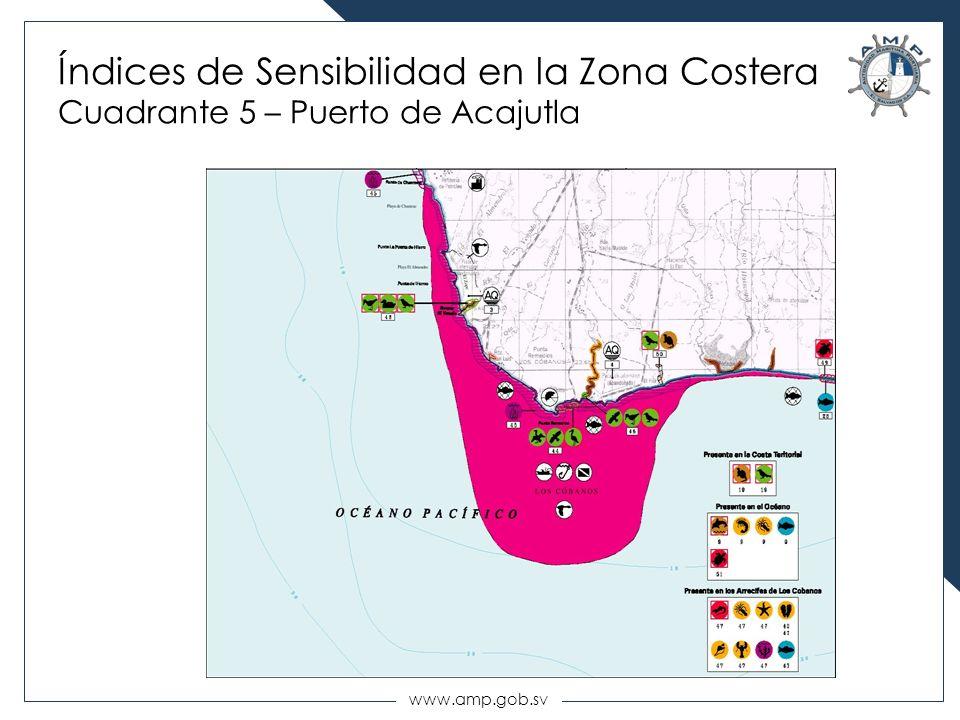 Índices de Sensibilidad en la Zona Costera Cuadrante 5 – Puerto de Acajutla