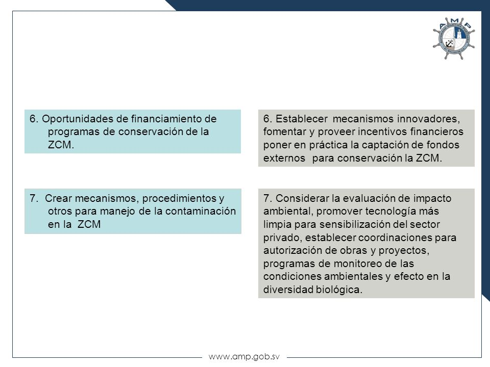 6. Oportunidades de financiamiento de programas de conservación de la ZCM.