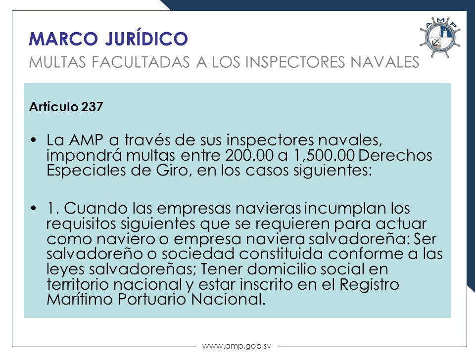 MARCO JURÍDICO MULTAS FACULTADAS A LOS INSPECTORES NAVALES