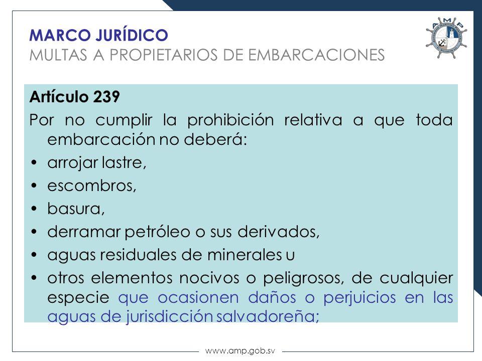MARCO JURÍDICO MULTAS A PROPIETARIOS DE EMBARCACIONES