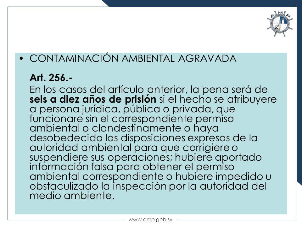 CONTAMINACIÓN AMBIENTAL AGRAVADA Art. 256.-