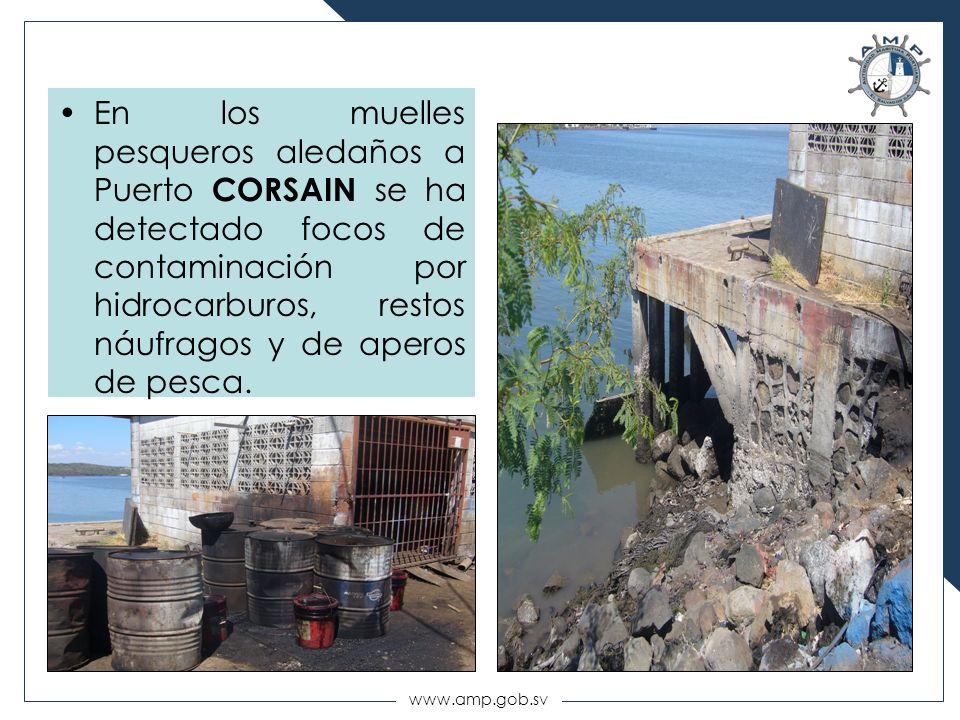 En los muelles pesqueros aledaños a Puerto CORSAIN se ha detectado focos de contaminación por hidrocarburos, restos náufragos y de aperos de pesca.