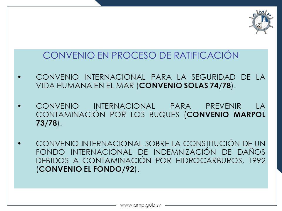 CONVENIO EN PROCESO DE RATIFICACIÓN