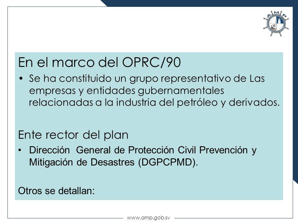 En el marco del OPRC/90 Ente rector del plan