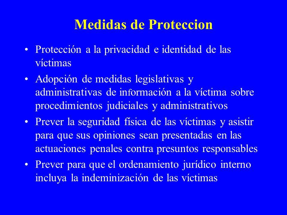 Medidas de Proteccion Protección a la privacidad e identidad de las víctimas.